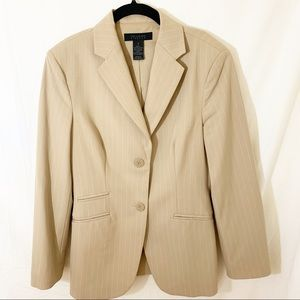The Limited Tan Pinstripe Blazer & Pants Suit Sz 2